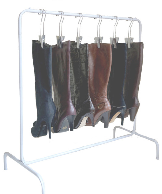The Boot Rack With Six Silver Hangers, White, Silver - Contemporary - Shoe Storage - by ...