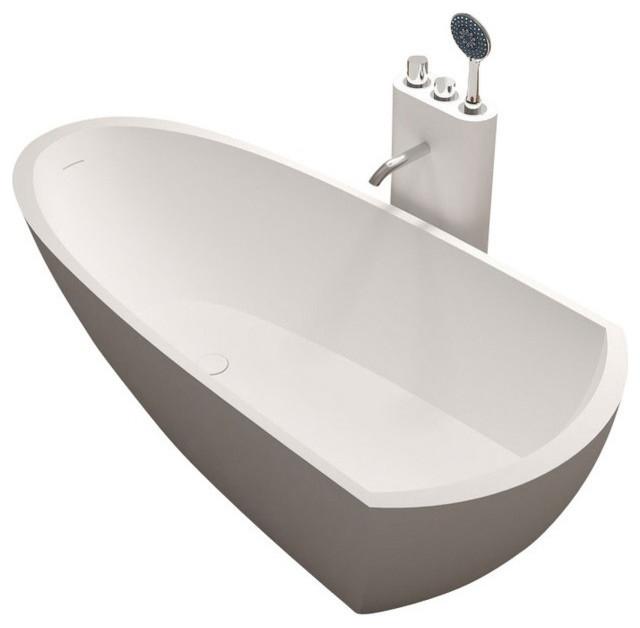 ADM White Stand Alone Resin Bathtub Glossy Modern Baths By ADM Bathroo