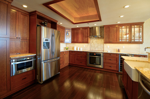 Show me your medium to dark wood cabinets for Kitchen design 07631