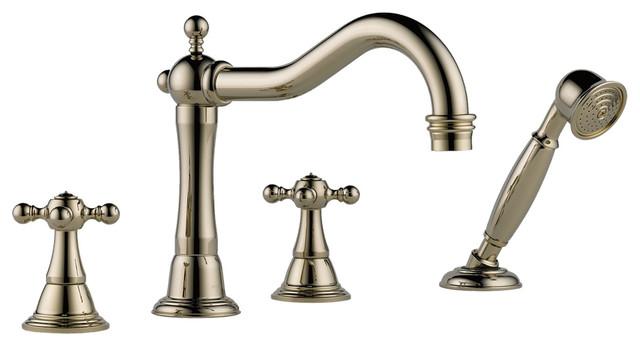 Brizo T67438 PN Tresa Roman Tub Faucet With Spray Modern Bathtub Faucets