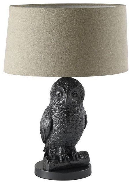 Owl Table Lamp Gunmetal Natural Eclectic Table Lamps