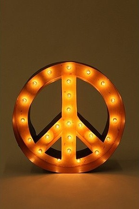 Peace Sign Marquee Light Eclectic Table Lamps By