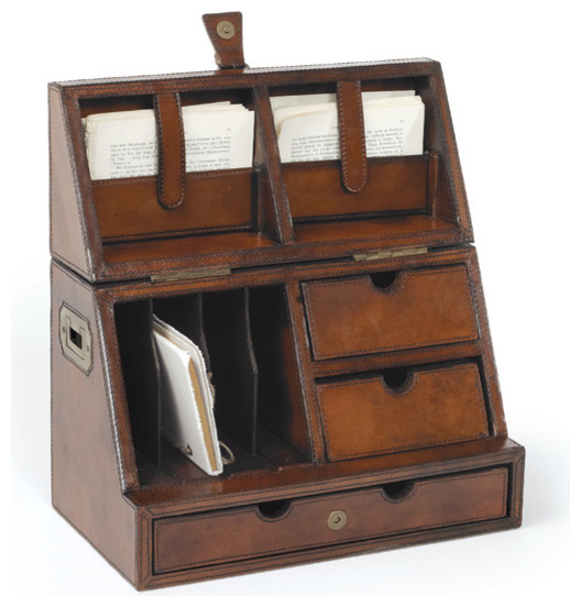 Antique leather desktop organizer traditional desk - Desk organization accessories ...