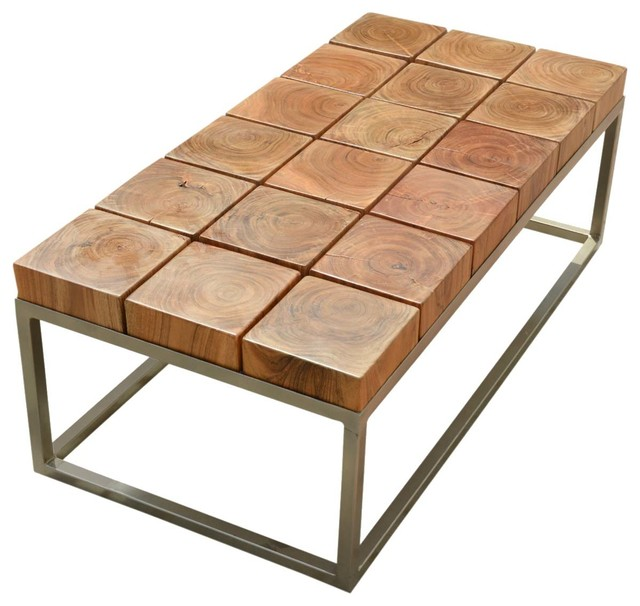 Colorful Modern Coffee Table: Unique Wood Block Iron Base Coffee Table