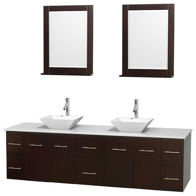 80 Double Bathroom Vanity In Espresso White Man Made