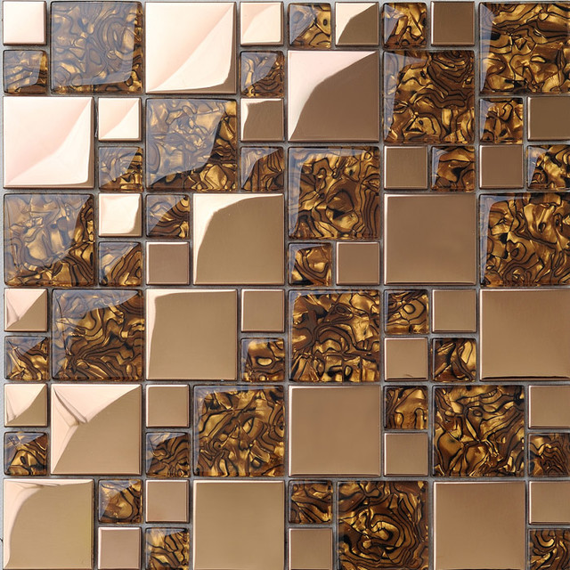 Metal Mosaic Tile Golden Kitchen Backsplash Tile Bath Wall Tile Resin 1941