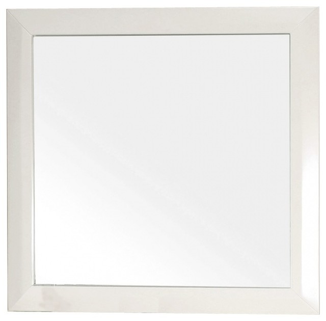Square Solid Wood White Frame Mirror Traditional Wall