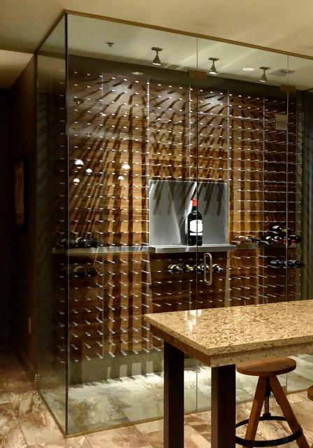 Glass Encased Wine Cellar In The Luxury Penthouse