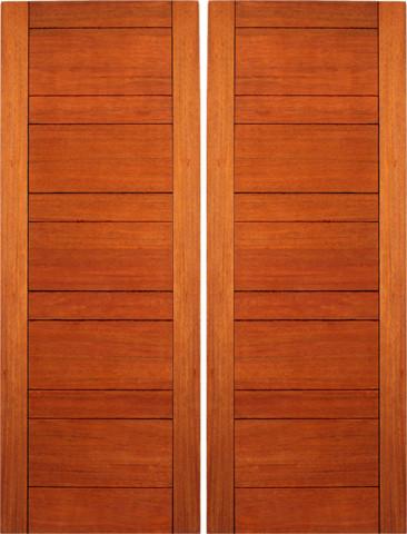 Exterior flush double door mahogany contemporary design for Flush exterior door