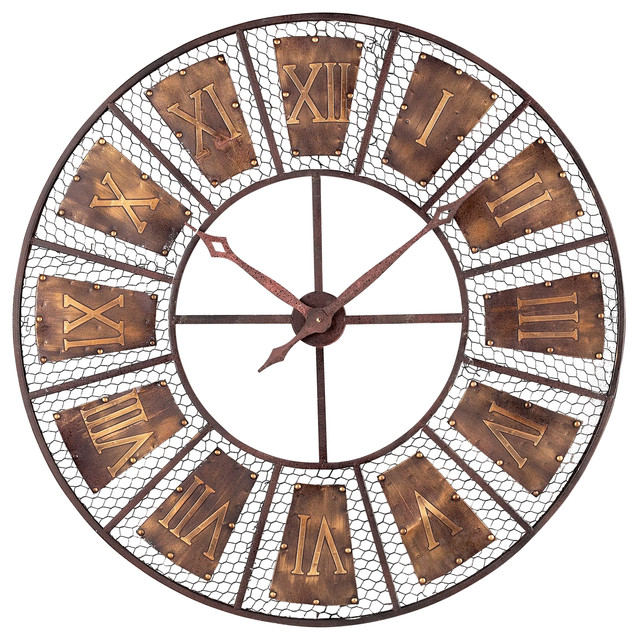 Round Outdoor Wall Decor : Bronze metal round outdoor wall clock traditional