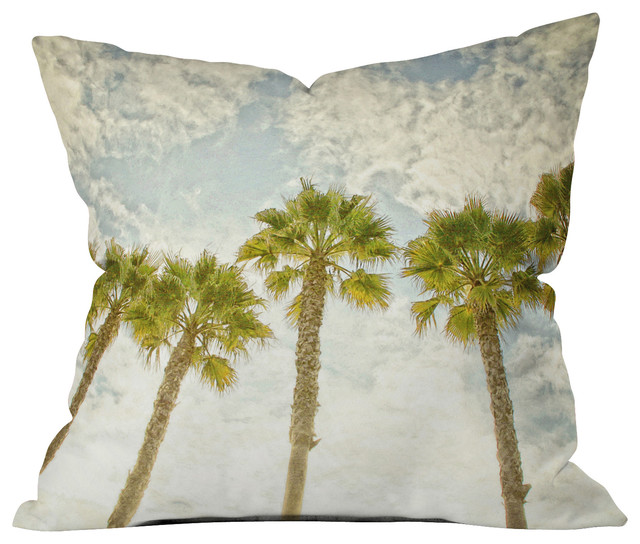 Shannon Clark Palm Trees Outdoor Throw Pillow - Beach Style - Outdoor Cushions And Pillows