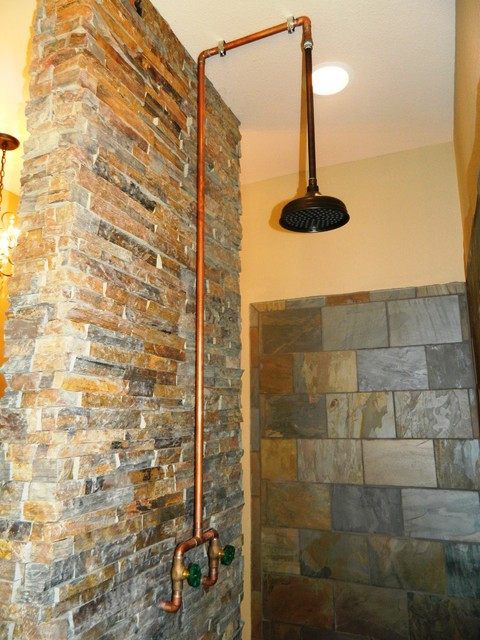 exposed copper shower modern dallas by wright built