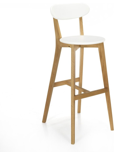 Siwa chaise de bar design scandinave coloris blanc scandinavian bar stool - Chaise de bar blanche ...