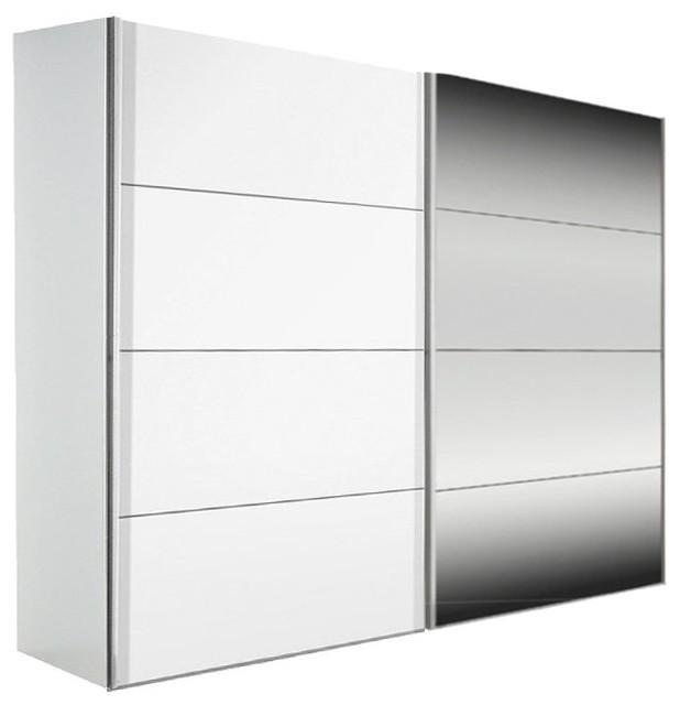 dressing kick 252cm avec melamin blanc mat et miroir avec. Black Bedroom Furniture Sets. Home Design Ideas