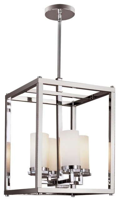 Transitional Foyer Lighting : Four light polished chrome white opal decanters glass