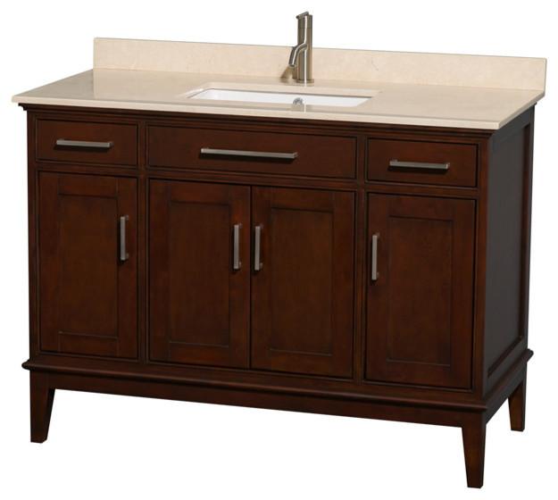 48 Single Bathroom Vanity Ivory Marble Countertop Undermount Sink Transitional Bathroom