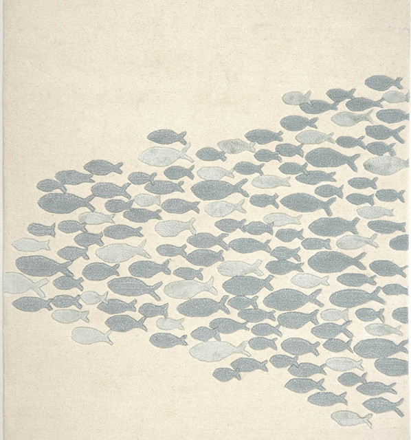School Fish Rug, White