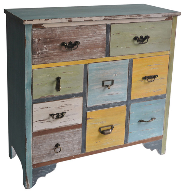 Cheungs Home Decorative Multicolor Wooden Chest With 9 Drawers - Contemporary - Accent Chests ...