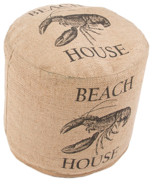 coastal pattern taupe black jute pouf beach style floor pillows and poufs by aster lane. Black Bedroom Furniture Sets. Home Design Ideas