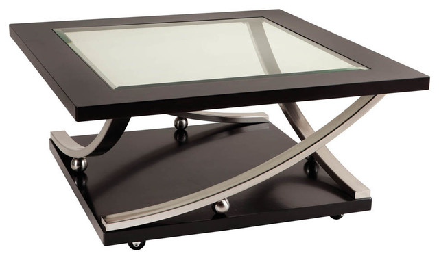 Standard Furniture Melrose Square Glass Top Cocktail Table In Rich Dark Merlot Coffee Tables