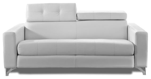 Rapido delano 160 cm cuir vachette blanc sommier lattes for Canape convertible lampolet