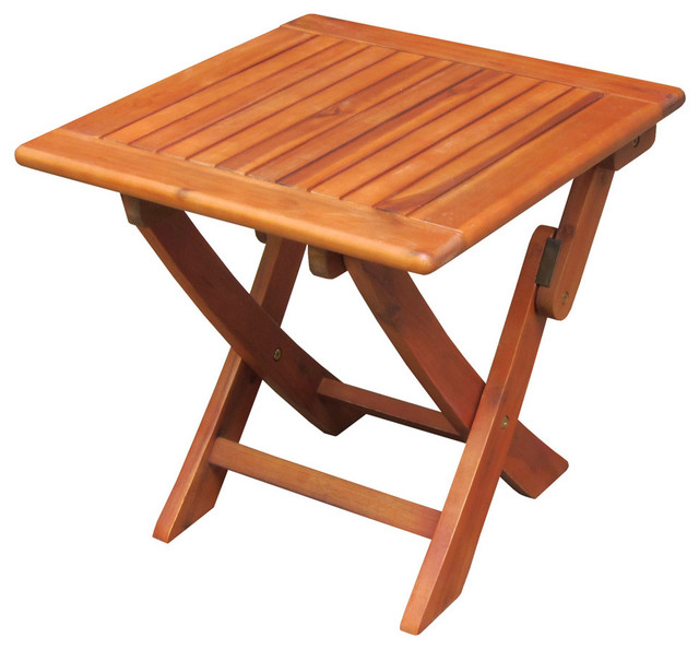 Oiled Acacia Wood Side Table With Folding Legs Contemporary Dining Tables