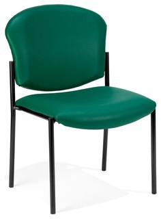 Armless Vinyl Upholstered Stacking Chair Black Contemporary Office Chai