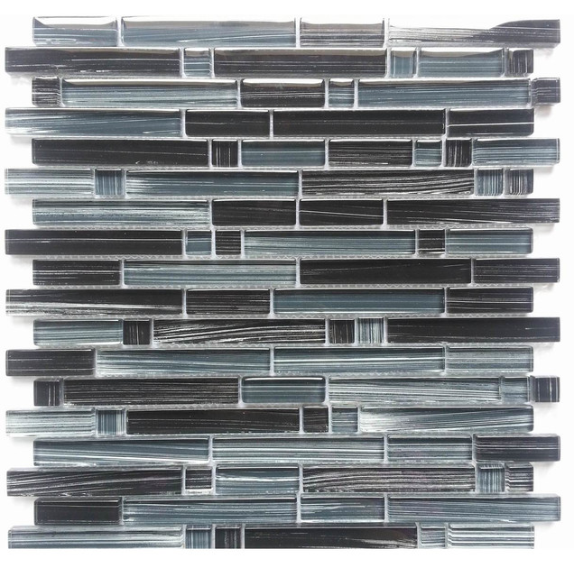 picasso black glass mosaic backsplash tile with a white