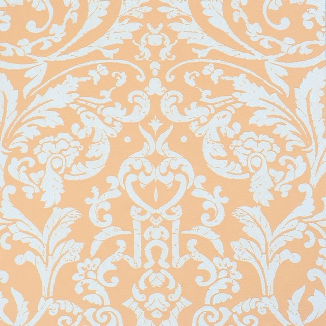 Luscious orange pink ornamental wallpaper contemporary for Modern wallpaper samples