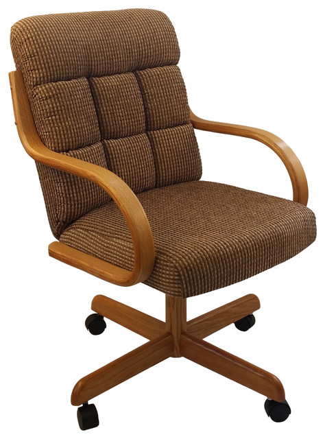 Casual Rolling Caster Dining Chair with Swivel Tilt Oak