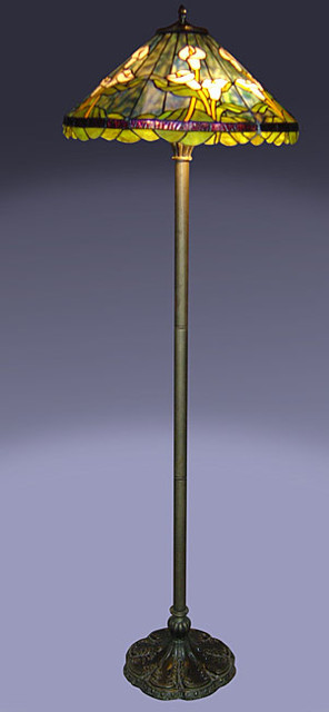 Tiffany style calla lilly floor lamp contemporary for Overstock tiffany floor lamp