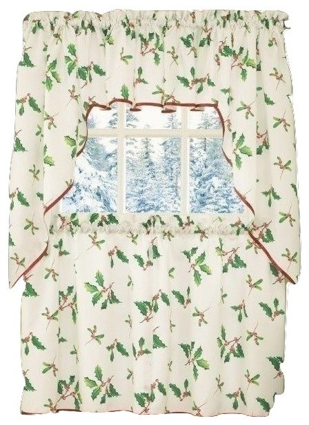 Deck the halls christmas kitchen curtain swag for Traditional kitchen curtains