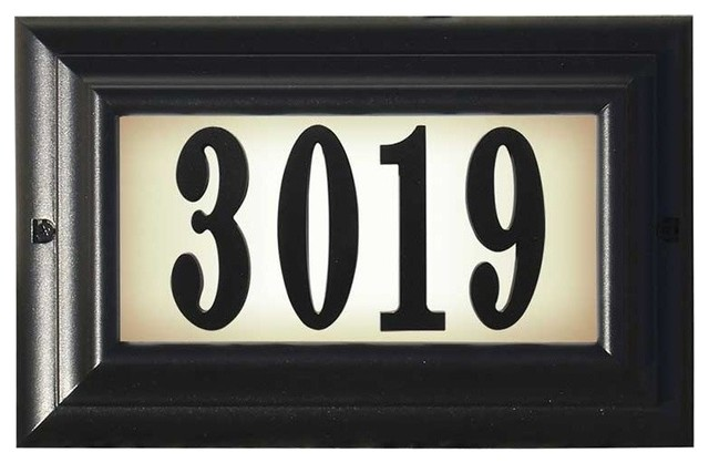 Edgewood lighted address plaque black large for Big modern house numbers