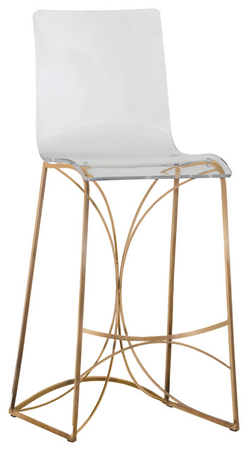 Gabby Angela Acrylic Bar Stool Gold Bar Stools And