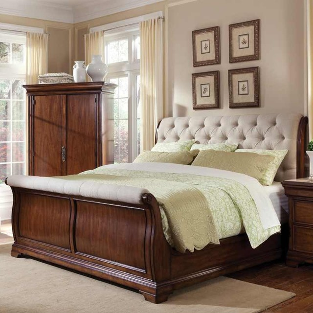 Art furniture margaux fabric sleigh bed 166125 2630cb traditional bedroom furniture sets for Bedroom furniture salt lake city
