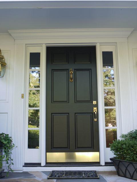 Simpson 6 Panel Wood Door With Bronze Kick Plate Black Contemporary Front Doors Other