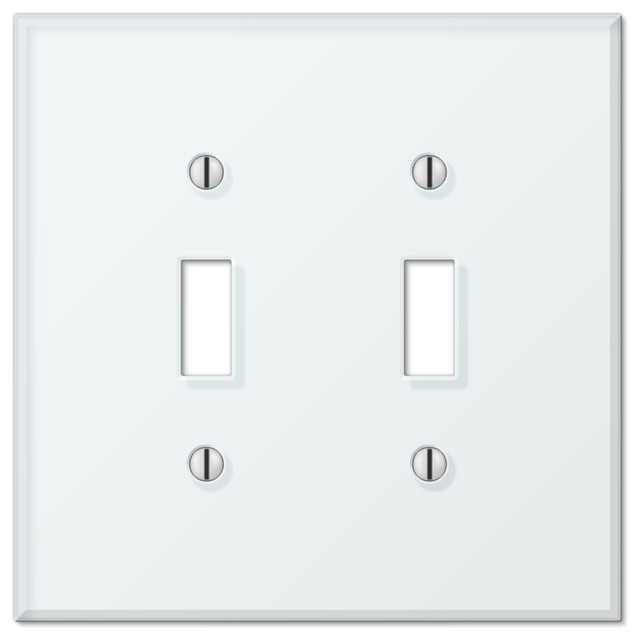 Glass Tile White Acrylic 2-Toggle Wall Plate - Switch Plates And Outlet Covers - by AmerTac