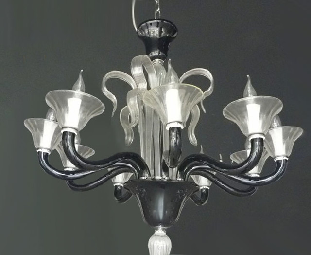 Modern White And Black Crystal Chandelier Contemporary