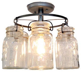 Mason jar ceiling light