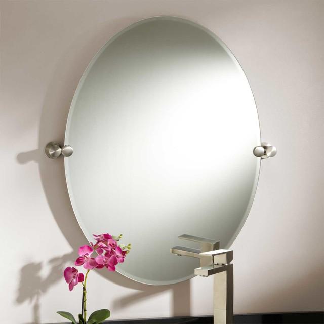 "Bathroom Tilt Mirror: 31"" Prague Oval Tilting Mirror Modern-bathroom-mirrors"