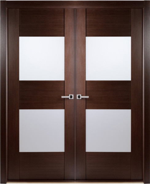 Contemporary african wenge interior double door with - Contemporary glass doors interior ...