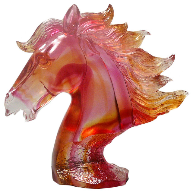Chinese Liuli Crystal Glass Pate-de-Verre Horse Head Figure, Red - Asian - Decorative Objects ...