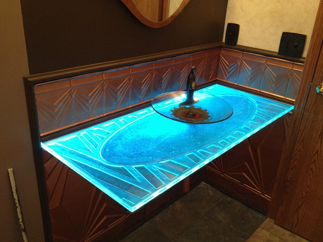 Glass countertops contemporary cleveland by short for Tempered glass countertop