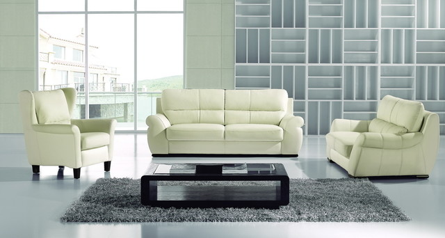 Modern Ivory Leather Sofa Couch Loveseat Chair Tufted