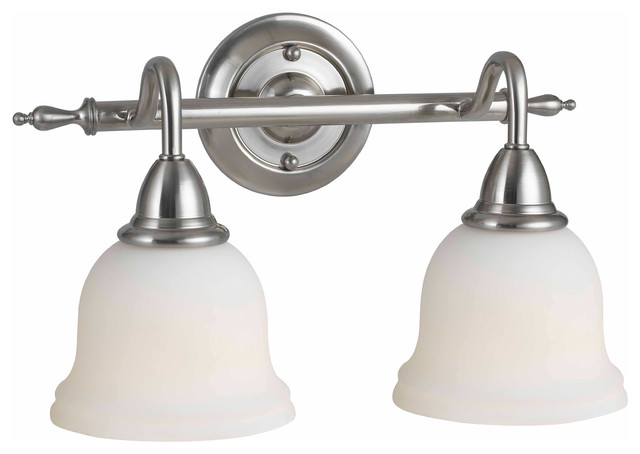 World imports 8382 02 montpellier satin nickel 2 light for Traditional bathroom vanity lights