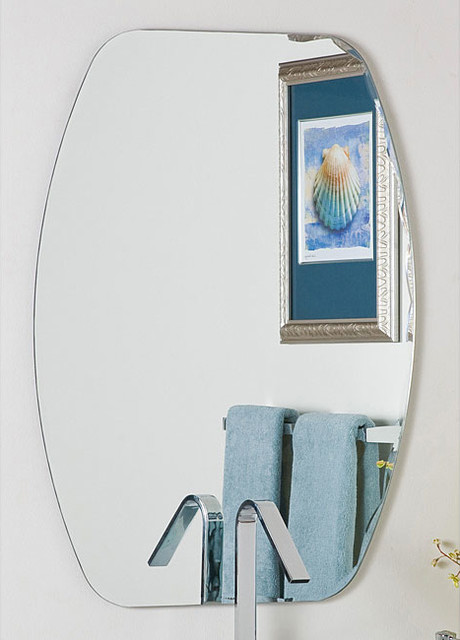 Frameless Oval Beveled Groove Mirror Contemporary Bathroom Mirrors By