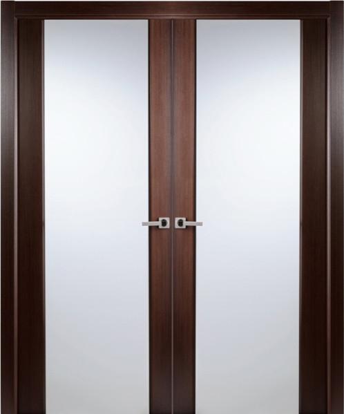 Contemporary African Wenge Veneer Interior Double Door Frosted Glass - Contemporary - Interior ...