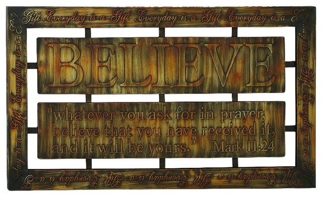 Metal Wall Plaque Bronze Believe Bible Verse Print Home