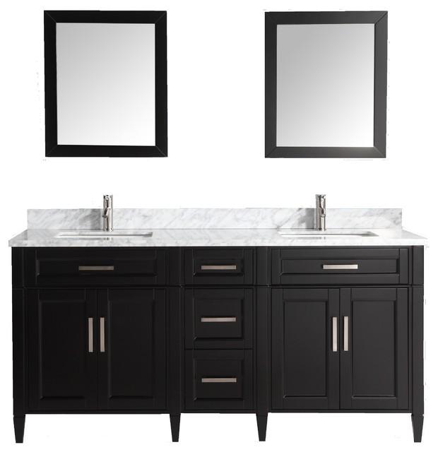 Vanity Art 72 Bathroom Vanity Set With Carrara Marble Stone Espresso