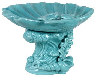 Giant Clam Seashell Platter Marine Life Pedestal, Cyan Blue - Coastal ...